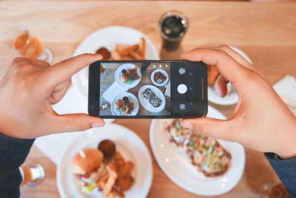 Mobile phone image of food platters