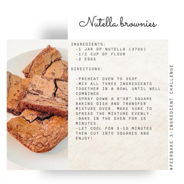 Nutella brownie recipe by @michelle.poudrier