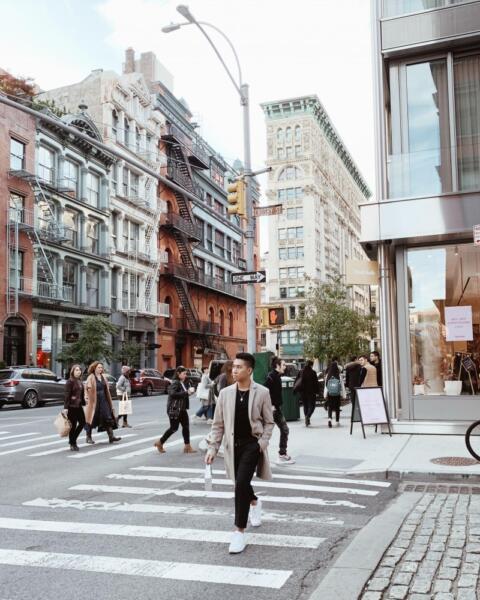 Swayer Marc crossing the street