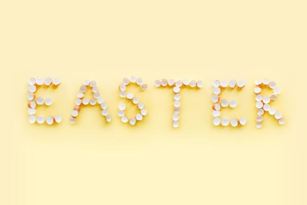 Easter spelt with easter eggs