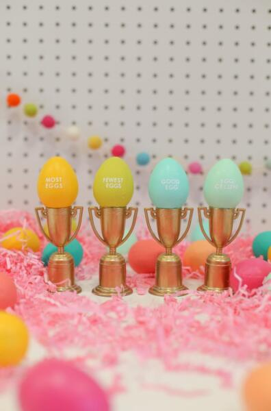 Pastel easter eggs on trophies