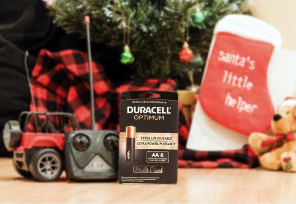 Duracell product under Christmas tree